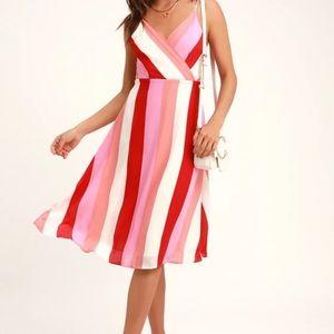 Pink Multi-Striped Midi Dress